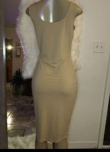 nude v-neck dress